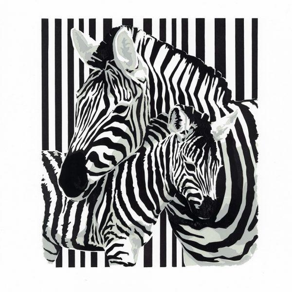 Zebra Dazzle - Square Blank Card