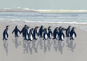King Penguins - A5 Landscape Blank Card