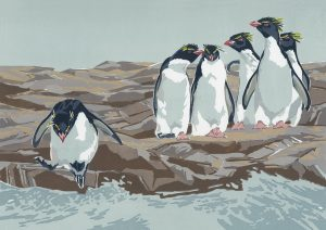 Rockhopper Penguins - A5 Landscape Blank Card