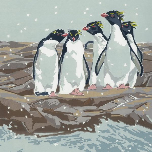 Rockhopper Penguins - Square Christmas Card