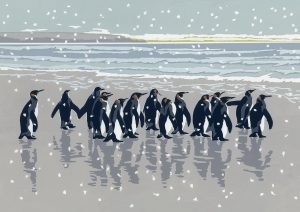 Snowy King Penguins - A5 Christmas Card