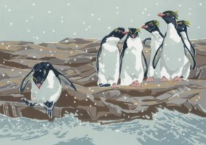 Snowy Rockhoppper Penguins - A5 Christmas Card